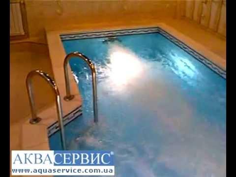 Частный бассейн с противотоком, бассейн в доме.