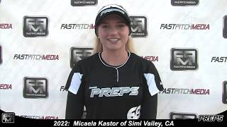 2022 Micaela Kastor 65MPH + Pitcher and Shortstop Softball Skills Video - Easton Preps