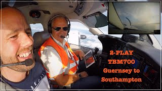 2-PLAY - TBM700 Flight from Guernsey (EGJB) to Southampton (EGHI) including ATC Radio Communication, full takeoff and...
