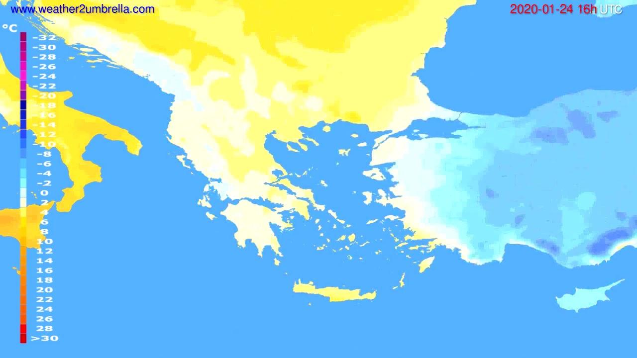 Temperature forecast Greece // modelrun: 12h UTC 2020-01-23