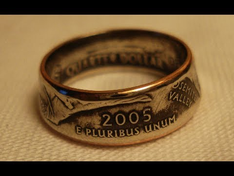 ring - How to make a double sided coin ring down to a size 5 using a state quarter. Here's how to avoid marring up the inside https://www.youtube.com/watch?v=KeZfZG...