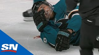 Sharks' Joe Pavelski Bloodied As Head Hits Ice After Cody Eakin Wipes Him Out by Sportsnet Canada