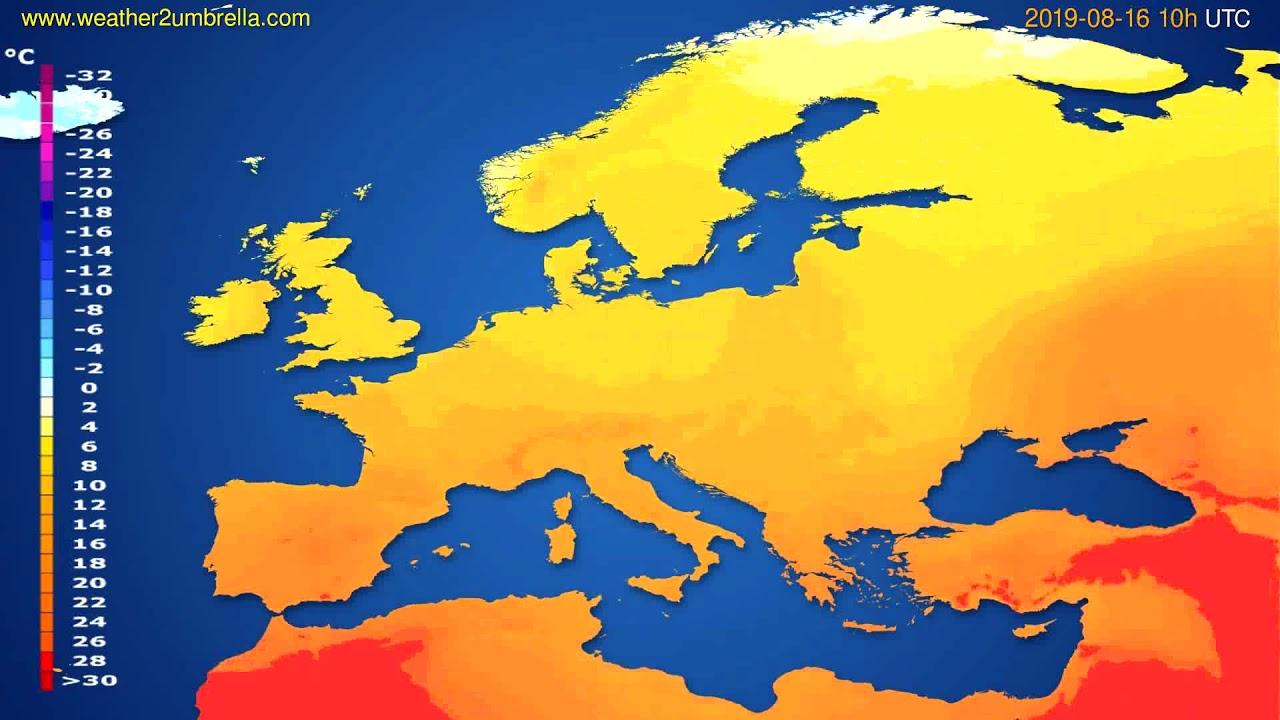 Temperature forecast Europe // modelrun: 12h UTC 2019-08-13