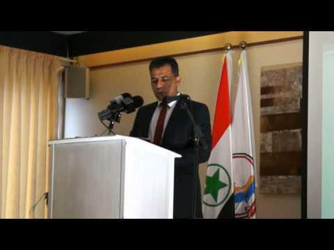 الدكتور عباس الكعبي رئيس المنظمة الوطنية لتحرير الأحواز - حزم يلقي كلمة المنظمة - مؤتمر لاهاي