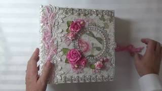 """A mini album made with the Italian paper line """"Stamperia Letters And Flowers"""", also a design team project for Tresors de Luxe."""
