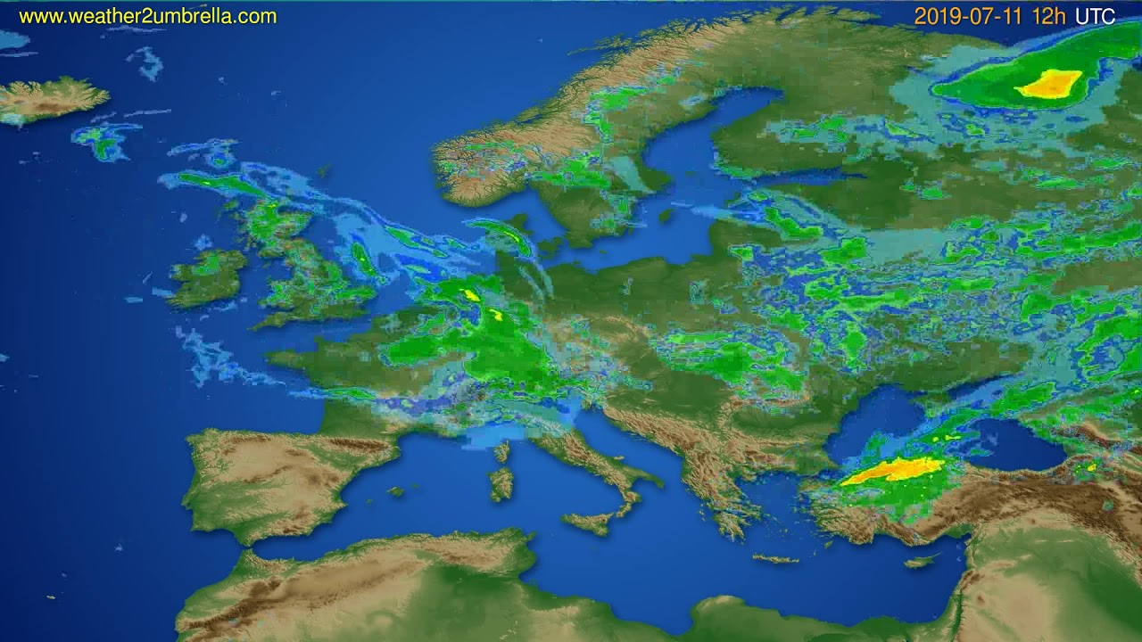 Radar forecast Europe // modelrun: 00h UTC 2019-07-11