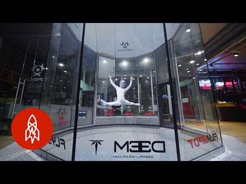 Beautiful Dance Performed by an Indoor Skydiver