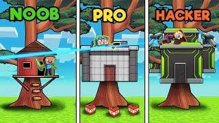 Minecraft - TREE HOUSE WARS! (NOOB vs PRO vs HACKER)