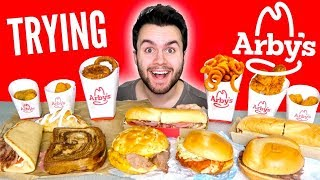 Download Lagu TRYING ARBY'S WHOLE MENU! - Meat Sandwiches, Curly Fries, & MORE Fast Food Mukbang Taste Test! Mp3