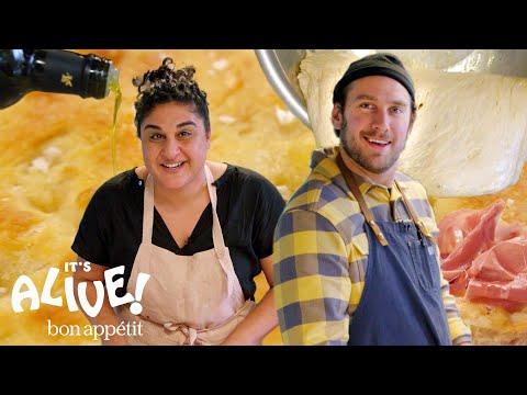 Brad Makes Focaccia Bread with Samin Nosrat   It's Alive   Bon Appétit