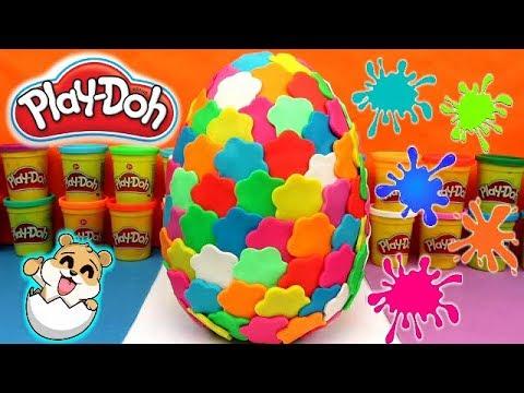 Huevo Sorpresa Gigante de Colores de plastilina Play Doh en Español - Con Eva y Lina