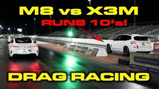 M8 vs X3M * BMW M8 Competition vs tuned BMW X3M 1/4 Mile Drag Racing by DragTimes