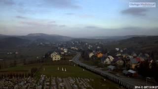 Czaszyn TimeLapse - widok na miejscowosc. Bieszczady timelapse -  28.11.2014.