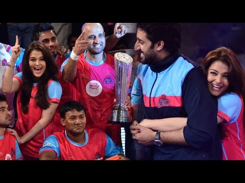 Abhishek Bachchan - Abhishek Bachchan and Aishwarya Rai Bachchan were seen at the grand finale of Pro Kabaddi League. Stay tuned to watch video. For more Bollywood, log on to ht...