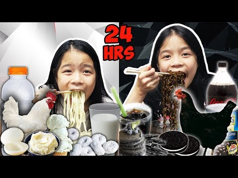 We Only Ate BLACK FOOD & WHITE FOOD For 24 HOURS Challenge!