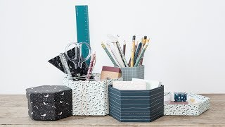 """The sisters suggest that you spoil yourself and your workspace with wonderful storage for your office and writing supplies.Find more creative ideas here: http://sostrenegrene.com/diy-corner/Find the products from the video in your local Søstrene Grene shop.Remember to press the """"thumbs up"""" button and tell all your friends about this simple, but creative way of making gifts for your friends. You can also subscribe to our channel for notifications on Anna's DIY videos on fun craft projects. On our YouTube channel, you can find creative inspiration and tutorials on DIY projects, styling, painting and even cooking. All our videos aspire to encourage playfulness and creativity for all ages, kids and adults alike.Best regards,SØSTRENE GRENEFind further inspiration on our other social media channels:https://instagram.com/sostrenegrenehttps://facebook.com/sostrenegrenehttps://youtube.com/sostrenegrenehttp://pinterest.com/sostrenegrenesVideo timeline:Materials: 0:01Final product: 0:43"""