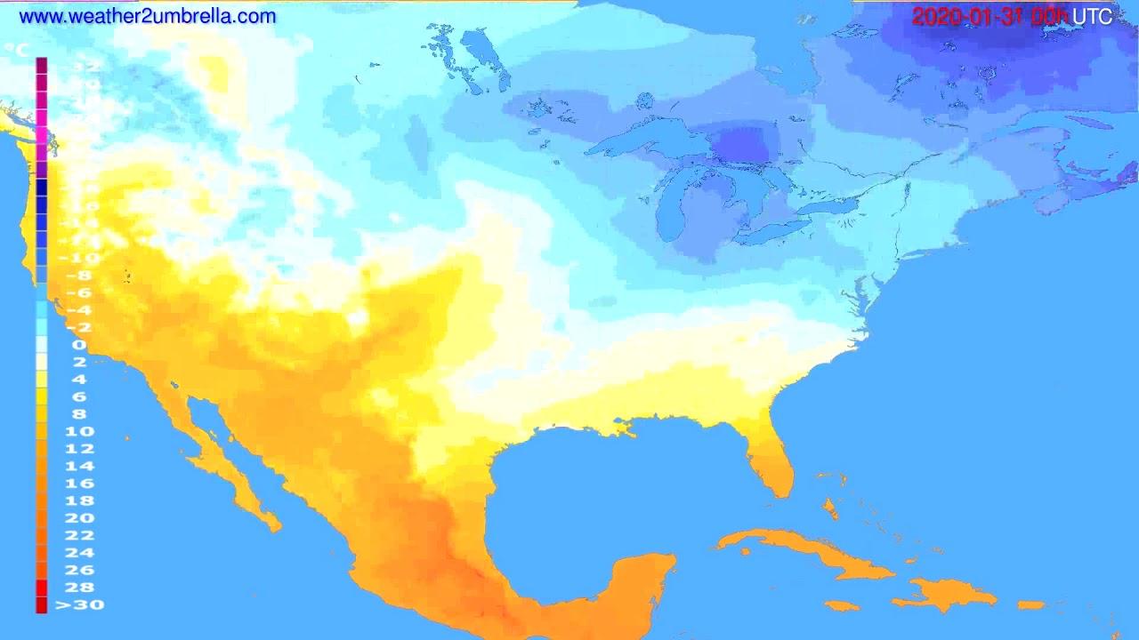 Temperature forecast USA & Canada // modelrun: 00h UTC 2020-01-30