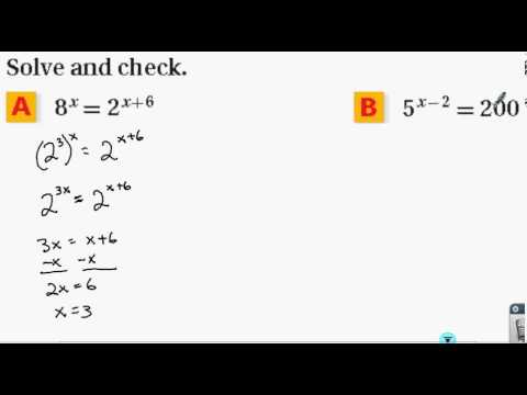 Solving Exponential Equations Example 1
