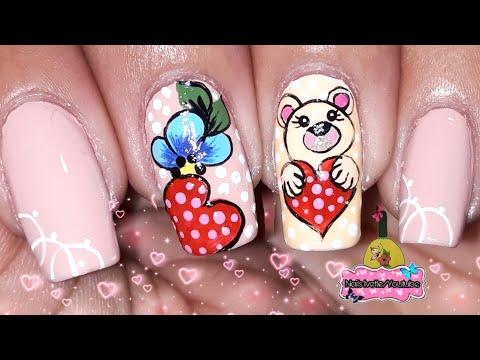 Videos de uñas - Decoración de uñas para el dia del amor y la amistad/decoración de uñas osito/Diseño uñas corazones