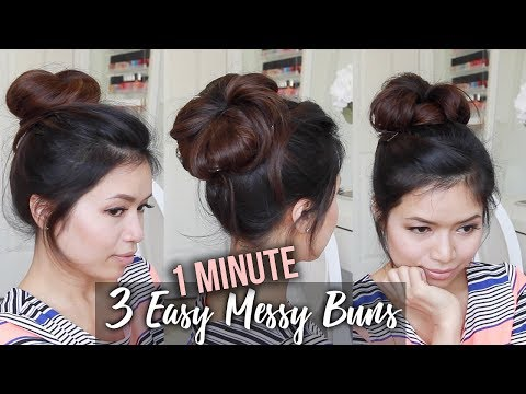 Easy hairstyles - How to: MESSY BUN TUTORIAL  Quick & Easy Updo Hairstyles
