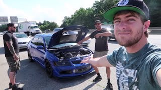 "Subscribe to my channel!- http://bit.ly/2jH1GkMFor this video, we go save my good friend Ron who recently purchased a Mitsubishi Evo 8- we were all excited but worried about it since it was ""already built"" and we weren't sure about what parts were on it. With no surprise little issues arose and Ron broke down. We will continue showing off this evo in the future to show what happens! Thanks for watching! New shirts!- https://shop.studio71us.com/collections/david-patterson2nd channel!- https://www.youtube.com/channel/UCN4-H8Kzio2pQXuMEEACy1gFollow me on wheelwell for QNA questions!  https://wheelwell.com/profile/559b2512c75d6981233bec40/garage/Key Tags- https://motoloot.com/collections/that-dude-in-blue-lootSnapchat!- DJP4Twitter- @thatdudeinblueFacebook- https://www.facebook.com/thatdudeinblue/?fref=tsNew decals!- http://spinnywhoosh.com/thatdudeinblue/Stay awesome. Drift into blue squad and subscribe!"