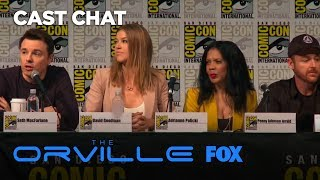 """Seth MacFarlane, Scott Grimes, and Penny Johnson Jerald discuss FOX's newest cosmic comedy.Subscribe now for more The Orville clips: http://fox.tv/SubscribeFOXLike The Orville on Facebook: http://fox.tv/TheOrville_FBFollow The Orville on Twitter: http://fox.tv/TheOrville_TWFollow The Orville on Instagram: http://fox.tv/TheOrville_IGLike FOX on Facebook: http://fox.tv/FOXTV_FBFollow FOX on Twitter: http://fox.tv/FOXTV_TwitterAdd FOX on Google+: http://fox.tv/FOXPlusFrom Emmy Award-winning executive producer and creator Seth MacFarlane (FAMILY GUY, """"Ted"""") and directed by Jon Favreau (""""The Jungle Book,"""" """"Iron Man""""), THE ORVILLE is a one-hour science fiction series set 400 years in the future that follows the adventures of the U.S.S. Orville, a mid-level exploratory vessel. Its crew, both human and alien, faces the wonders and dangers of outer space, while also dealing with the familiar, often humorous problems of regular people in a workplace…even though some of those people are from other planets, and the workplace is a faster-than-light spaceship. In the 25th century, Earth is part of the Planetary Union, a far-reaching, advanced and mostly peaceful civilization with a fleet of 3,000 ships. Down on his luck after a bitter divorce, Planetary Union officer ED MERCER (MacFarlane) finally gets his chance to command one of these ships: the U.S.S. Orville. Determined to prove his worth and write a new chapter in his life, Ed finds that task all the more difficult when the First Officer assigned to his ship is his ex-wife, KELLY GRAYSON (Adrianne Palicki, """"Agents of S.H.I.E.L.D.,"""" """"Friday Night Lights""""). As the new commander, Ed assembles a qualified, but eccentric crew, including his best friend, GORDON MALLOY (Scott Grimes, """"ER,"""" """"Justified""""), who has problems with authority, but is the best helmsman in the fleet; DR. CLAIRE FINN (Penny Johnson Jerald, """"24,"""" """"The Larry Sanders Show""""), one of the Union's most accomplished physicians; BORTUS (Peter Macon, """"Shameless,"""" """"Bosc"""