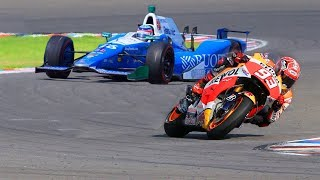 Video Marc Marquez MotoGP Bike vs FORMULA F1 Indy Race Car MP3, 3GP, MP4, WEBM, AVI, FLV Juni 2018