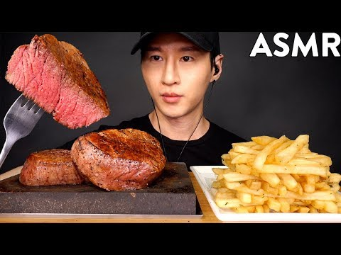 ASMR FILET MIGNON & GARLIC FRIES MUKBANG (No Talking) COOKING & EATING SOUNDS | Zach Choi ASMR