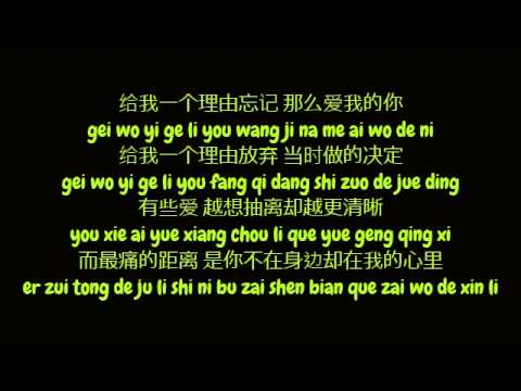 黄丽玲 (Huang Li Ling / A-Lin) – 给我一个理由忘记 (Simplified Chinese/ Pinyin Lyrics HD)