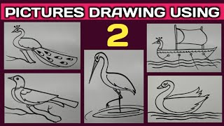 Number drawing for kids.//How to draw pictures using english number 2. Tarun Art.