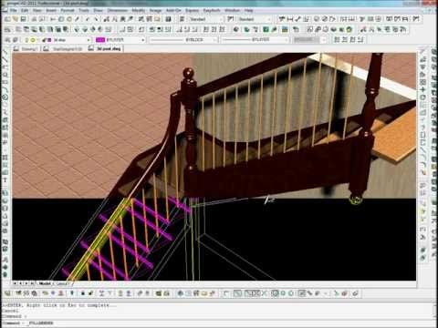 Hand rail Design with StairDesigner and Progecad