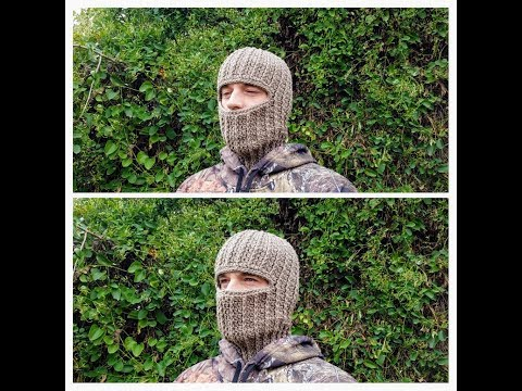 Learn How To Crochet Ski Hunting Mask Unisex Ribbed Beanie Crochet Hat Tutorial #427