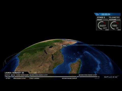 Запуск ракеты Falcon 9 со спутником Koreasat 5A