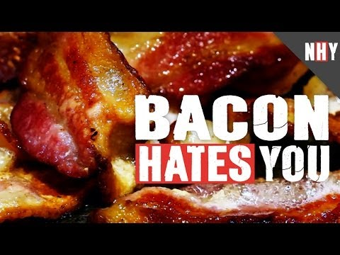 hates - The hot sizzle of it on the pan. The erotic plop of bacon hitting the fryer. Bacon is to breakfast what genitals are to sexy and Bacon Hates You! Don't belie...