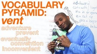 English Vocabulary Pyramid - VENT - adventure, convenient, eventually...