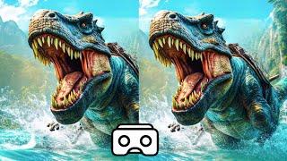 🔴 Dinosaur VR VIDEO 3D Split Screen for Virtual Reality VR BOX 3D not 360 VR