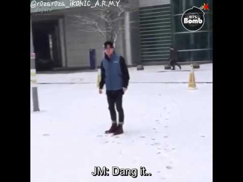 BTS SNOWBALL FIGHT (ENG SUB) Bangtan Bomb & BTS TWITTER UPDATE {Jimin's Narration Is So Adorkable}