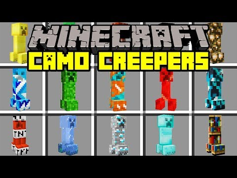 Minecraft CAMOUFLAGE CREEPER MOD!   SURVIVE AGAINST CAMO & INVISIBLE CREEPERS!   Modded Mini-Game