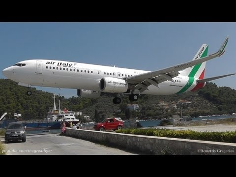 landing - As plane spotters at Skiathos airport, also known as the Second St Maarten, we wanted a low landing, but we definitely hadn't seen this one coming! Many peop...