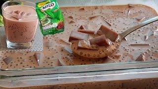 อร่อยมากกกกกก วุ้นไมโลสาคู สูตรเข้มข้น ทำขายได้เลย l แม่มิ้ว l Milo dessert