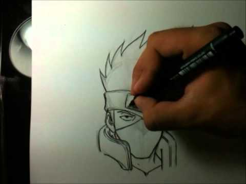 Tutorial como desenhar o Kakashi - How to draw Kakashi