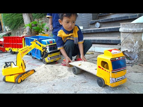 Drama Zafi Mainan Miniatur TRUK TRONTON dan EXCAVATOR   Miniatur TRUK