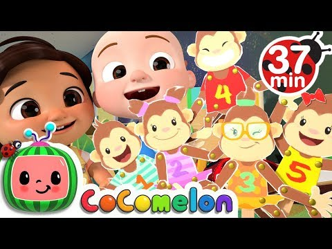 Five Little Monkeys Jumping on the Bed + More Nursery Rhymes & Kids Songs - CoComelon видео