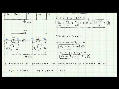 Analisis de Nodos - Supernodos - Ejercicio de Aplicacion - Circuitos Electricos - Video 043