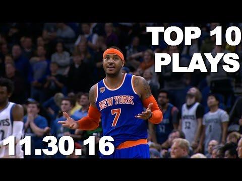 Top 10 NBA Plays: 11.30.16 (видео)