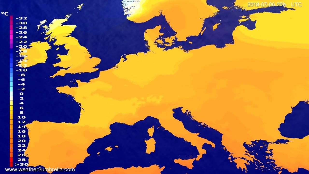 Temperature forecast Europe 2018-07-03