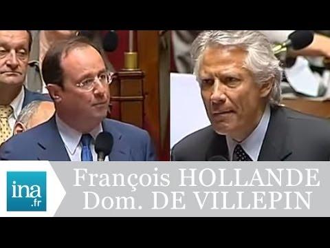 Incident à l'Assemblée : Dominique de VILLEPIN et François HOLLANDE - Archive Ina
