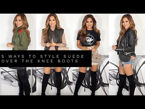 5 WAYS TO STYLE SUEDE OVER THE KNEE BOOTS | Lina Noory видео