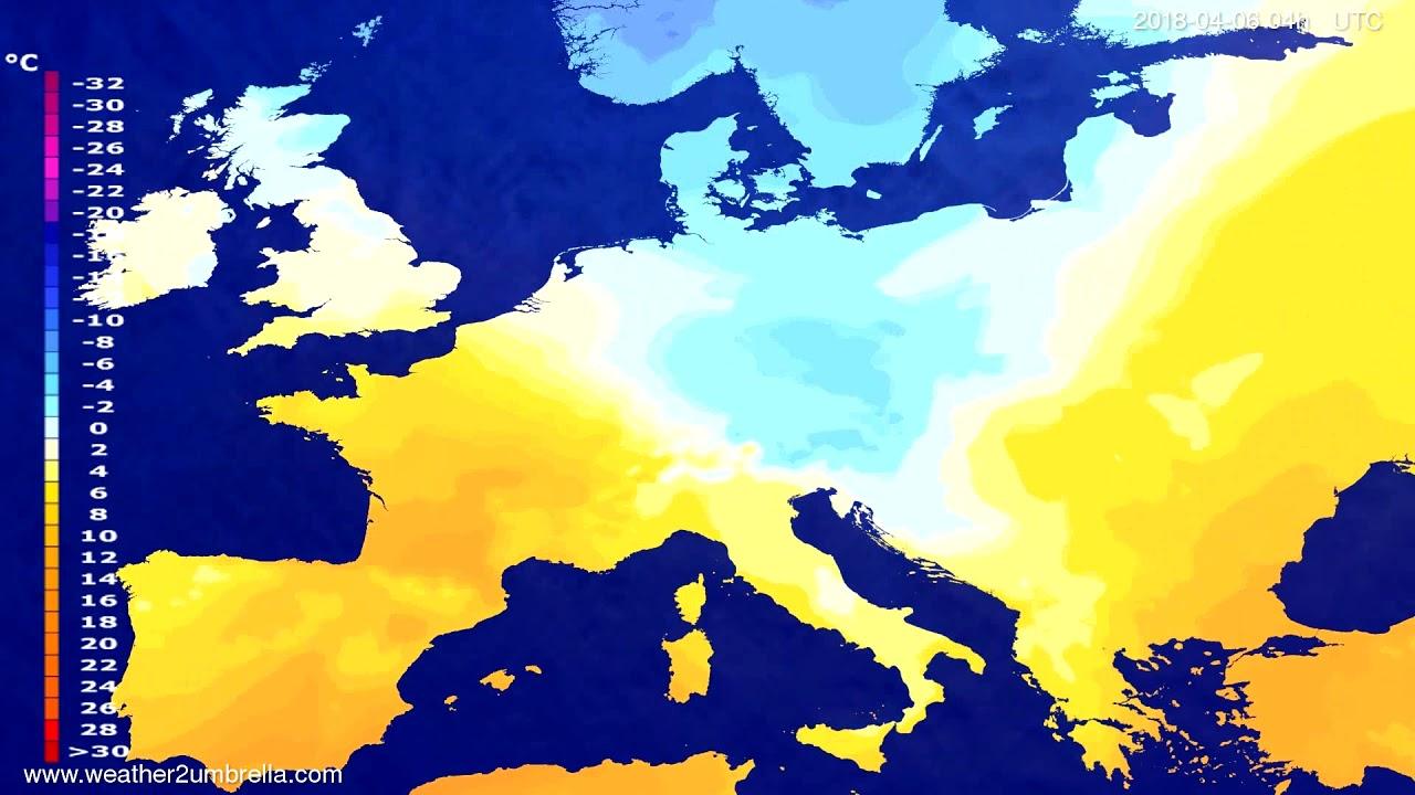 Temperature forecast Europe 2018-04-02