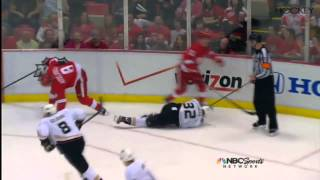 Justin Abdelkader receives five-minute major penalty for charging and a game misconduct after hitting Anaheim defenseman Toni Lydman